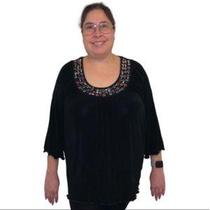 Slinky Brand Black Multi-Color rhinestone Blouse